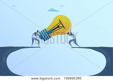 Business Men Giving Light Bulb Over Cliff Gap Partners Teamwork Cooperation New Idea Concept Flat Vector Illustration