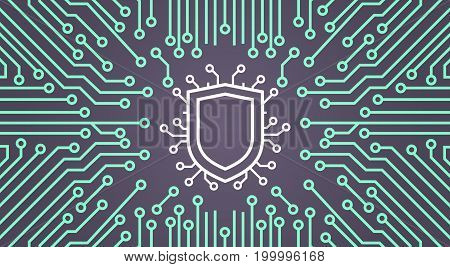 Shield Network Data Protection System Concept Banner Vector Illustration