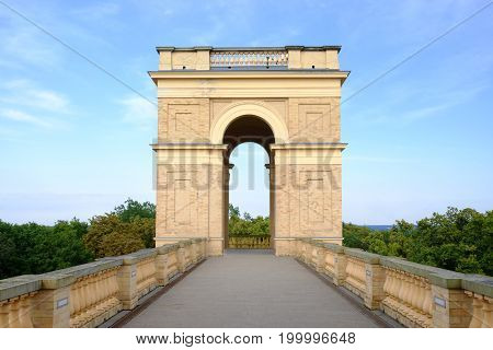 POTSDAM GERMANY - AUGUST 15 2017: Tower of the Belvedere on the Pfingstberg - Belvedere auf dem Pfingsberg, - in New Garden in Potsdam.
