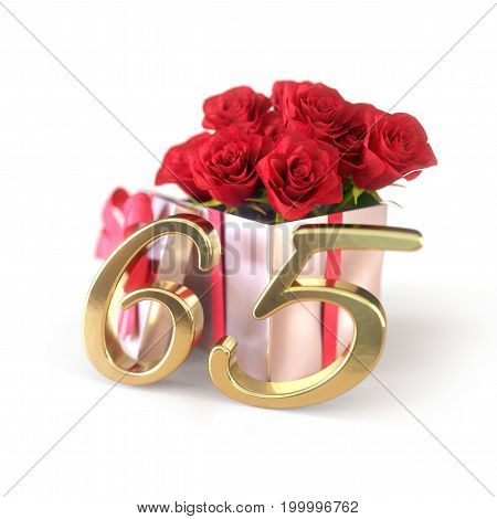 birthday concept with red roses in gift isolated on white background. 3D render - sixtyfifth birthday. 65th