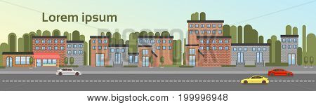 City Building Houses Town View With Car Road Background Skyline Copy Space Flat Vector Illustration