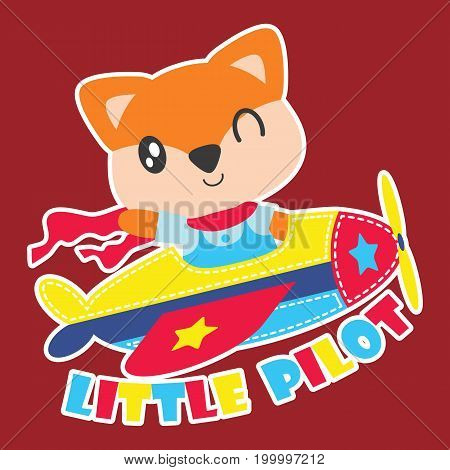 Cute fox flies plabe as little pilot vector cartoon illustration for kid t shirt design, kid nursery wall and graphic wallpaper
