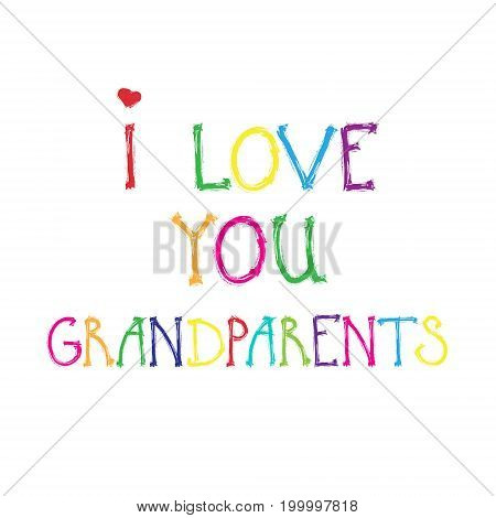 Happy Grandparents Day Greeting Card Banner Colorful Text Over White Background Vector Illustration