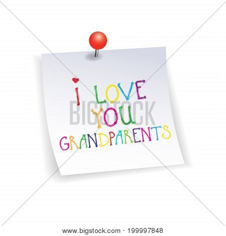 Happy Grandparents Day Greeting Card Sticker Colorful Text Over White Background Vector Illustration