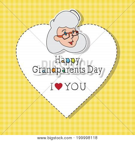 Happy Grandparents Day Greeting Card Colorful Banner Pop Art Style Vector Illustration