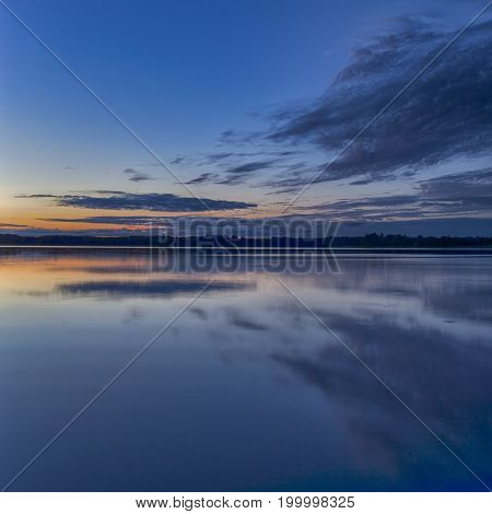 Scenic Destinations and Travel Concepts. Belarussian National Park Braslav Lakes at Sunset during Summertime.Square Image Orientation