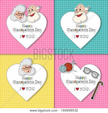 Happy Grandparents Day Greeting Cards Set Colorful Banner Pop Art Style Illustration