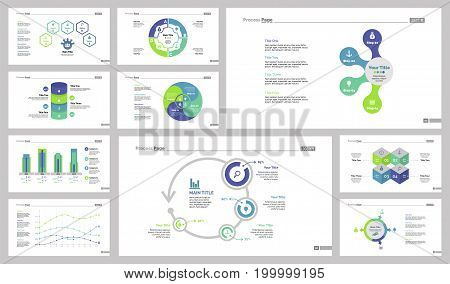 Infographic design set can be used for workflow layout, diagram, annual report, presentation, web design. Business and marketing concept with process, bar, line and percentage charts.