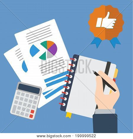 Business hand writing with sheets and calculator vector illustration. Finance and good business concept.Accounting concept vector