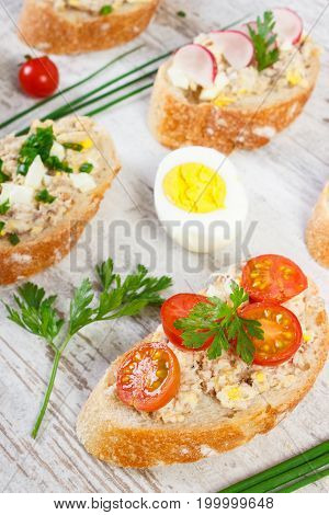 Crusty Baguette With Mackerel Or Tuna Fish Paste, Healthy Nutrition