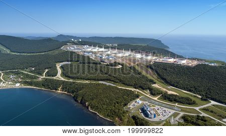 modern sea oil port on a sunny day