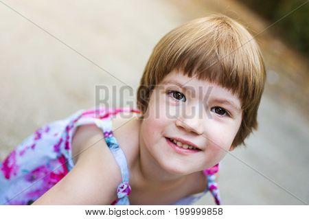 Restless Three Years Old Girl Having Fun