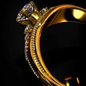Engagement gold ring with brilliant gem. luxury jewellery bijouterie with gemstone diamond for wopman . Cropped of jewels on black background. 3D rendering poster