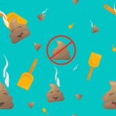Poop Seamless Vector Pattern: poo emoji or shit character, shovel and no pooping sign. Trendy bizarre Poop or poo emoticon wallpaper. poster