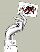 Hand of woman holding Joker playing card. Casino game retro concept design. Vintage engraving stylized drawing poster