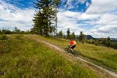 Mountain biking man riding on bike in summer inspiring mountains landscape. Rider cycling MTB on enduro trail path. Sport fitness motivation and inspiration in summer woods. poster