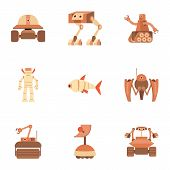 Android icons set. Cartoon set of 9 android vector icons for web isolated on white background poster