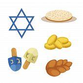 Judaism church traditional symbols jewish hanukkah set. Various jewish symbols and items hanukkah celebration flat icons . Jewish hanukkah church traditional religious. poster
