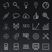 Vector Set of Outline SEO Icons. Search Engine Optimization Pictograms. poster