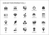 Strategy icon set. Various symbols for strategic topics like optimization,dashboard,prioritization,milestone, costs, revenue poster