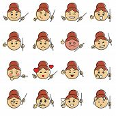 Vector set of school teacher emoticons. Cartoon face of a female teacher. Joy, wink, rigor, anger, shyness, love, shock, facepalm, fatigue and other emojis. Retro offset style with a shift of paint. poster