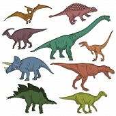 Collection of prehistoric jurrasic period fauna, wild dinosaur creatures, carnivorous beast and herbivorous. Realistick hand drawn sketch style. poster