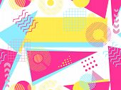 Memphis seamless pattern. Geometric elements memphis in the style of 80's. Bauhaus retro. Vector illustration. poster