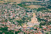 Tbilisi, Georgia. Top View Of Sameba Or Holy Trinity Cathedral Of Tbilisi, The Main Georgian Orthodox Church Erected On The Elia Hill Nowadays. Georgia poster
