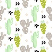 Cactus plant vector seamless pattern. Abstract hipster desert nature fabric print. Green mint cacti on white for wallpaper and textile apparel. poster