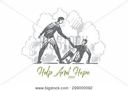 Help, Fall, Man, Accident, People Concept. Hand Drawn Man Helps Person To Rise Concept Sketch. Isola