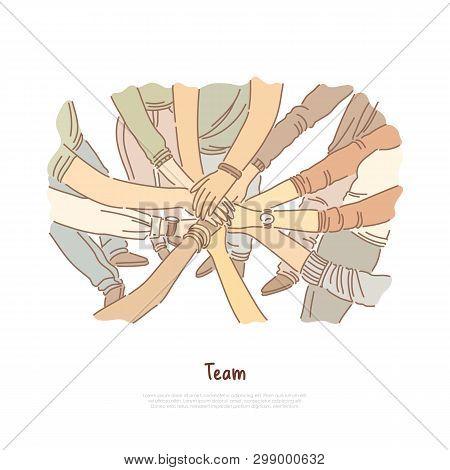 Hand Stack, Team Bonding Exercise, Community Cooperation, Group Unity, Diversity, Teamwork Banner. T