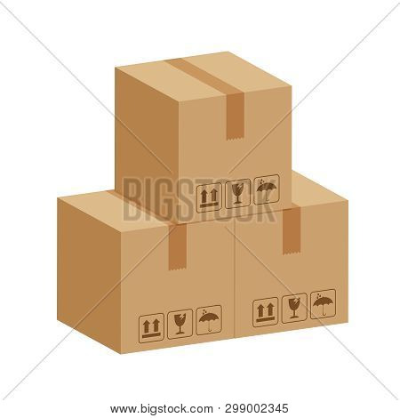 Crate Boxes 3d, Three Cardboard Box Brown, Flat Style Cardboard Parcel Boxes, Packaging Cargo, Isome