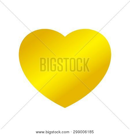 Gold Heart Shape Isolated On White Background, Golden Heart Shaped Icon, Gold Heart Logo, Image Of G