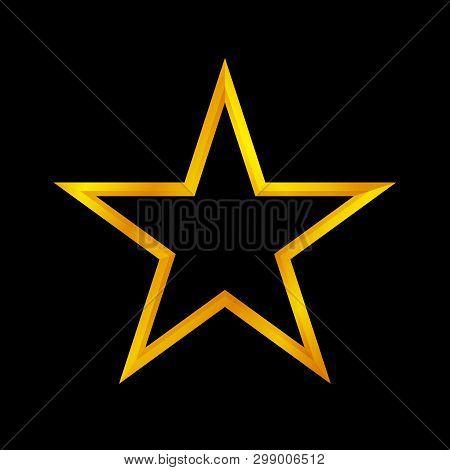 Gold Star Shape Isolated On Black Background, Golden Star Icon, Gold Star Logo, Image Of Golden Star