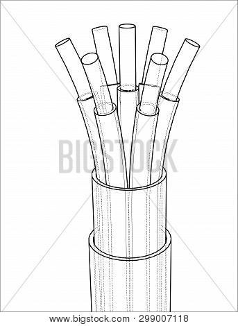 Seven-wire Cable. Wire Frame Style. Vector Rendering Of 3d. Concept Of The Energy Industry