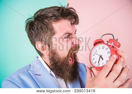 Time Management Skills. How Much Time Till Deadline. Time To Work. Man Bearded Aggressive Businessma