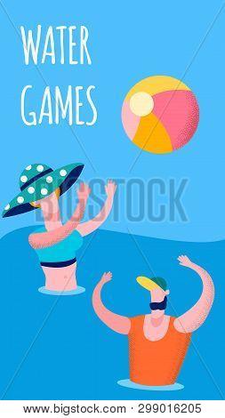 Joyful Couple Playing Water Game Banner Template. Husband, Wife, Friends Enjoy Seashore Relaxation.