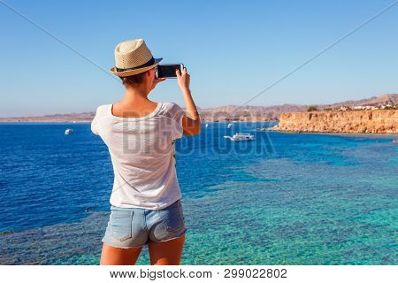 Tourist Woman On Sunny Resort Beach At The Coast Of Red Sea In Sharm El Sheikh, Sinai, Egypt, Asia I