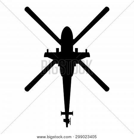 Helicopter Top View Battle Helicopter Icon Black Color Vector Illustration Flat Style Simple Image 2