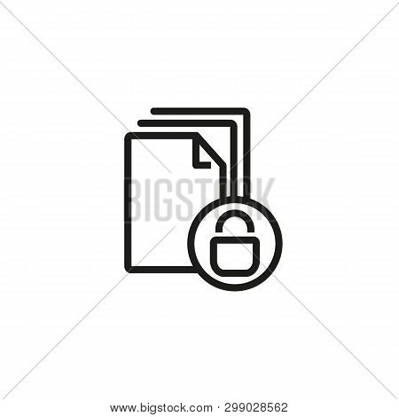 Protected Document Line Icon. Lock, Archive, Report. Secrecy Concept. Can Be Used For Topics Like In