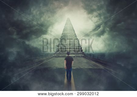 Mystic Scene, Wanderer Guy Confident Walking A Surreal Road And Found A Magic Stairway Going Up To A