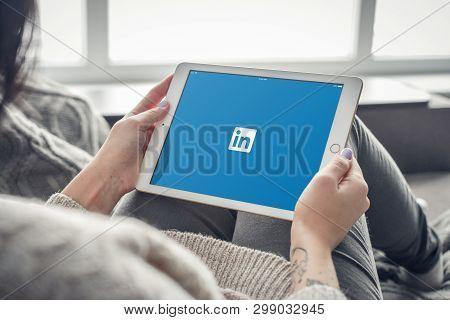 Kiev, Ukrain - February 10, 2018: Woman Using Linkedin App On A Brand New Apple Ipad Pro Silver, 7th
