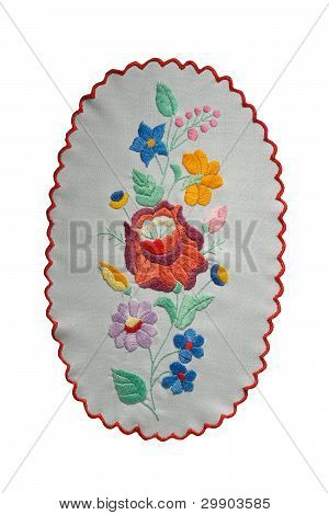 Traditional Hungarian embroidery isolated on white background poster