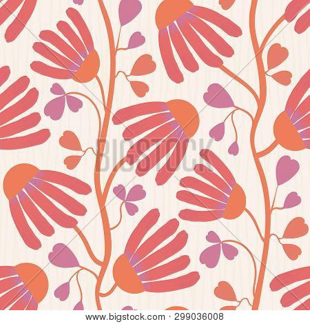 Vibrant Coral Flowers And Heart Shaped Leaves On White Subtly Striped Background. Seamless Vector Pa