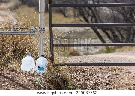Water Bottles Left Out For Migrants In The Arizona Desert