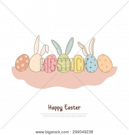 Colorful Pysanka With Decorative Ornament And Bunny Ears, April Holiday Tradition, Easter Celebratio
