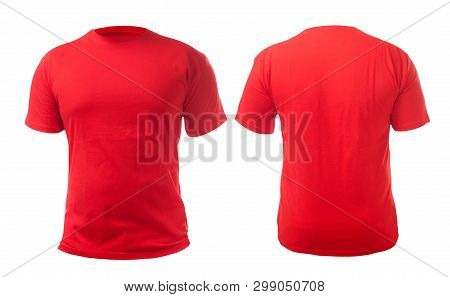 Red T-shirt Mock Up, Front And Back View, Isolated. Plain Red Shirt Mockup. Tshirt Design Template.