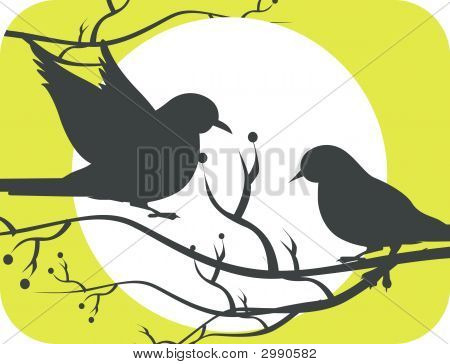 Illustration of two silhouettes of doves in sun with green backgrounds poster