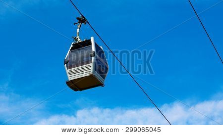Cable car between coast and Montjuic hill, Barcelona, Spain poster