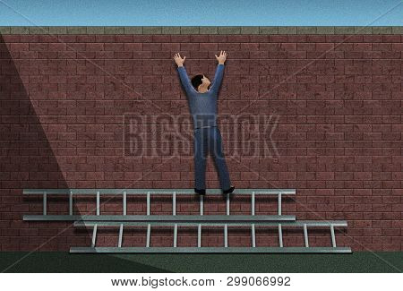 I'm Doing It My Way. That Mindset Is Illustrated With A Really Stupid Guy Standing On Ladders That A